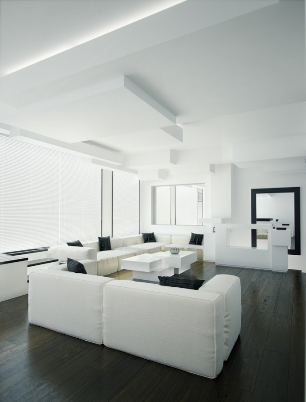 White And Black Living Room Contemporary Living Rooms