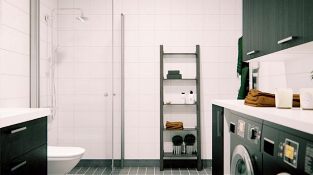 White Bathroom Black Utility Scandinavian Style City