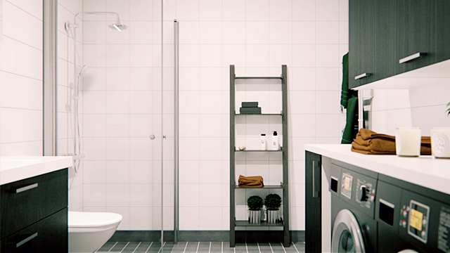 White Bathroom Black Utility Scandinavian Style City