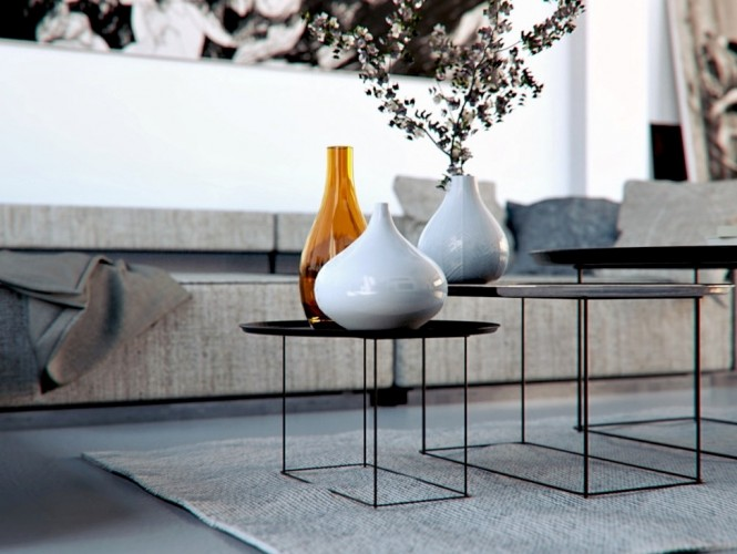 White Carpet Black Nested Tables Warmth In Subtle Tones