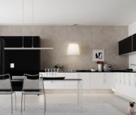 White Ceiling Black White Kitchen Modern Kitchens Ideas