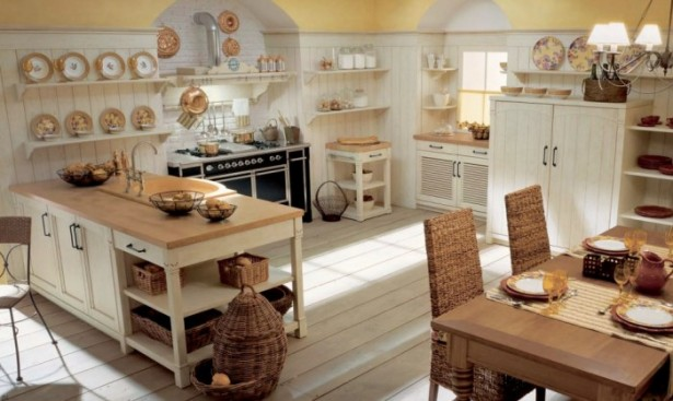 White Country Kitchen Country Kitchens With Italian Style Wooden Floor