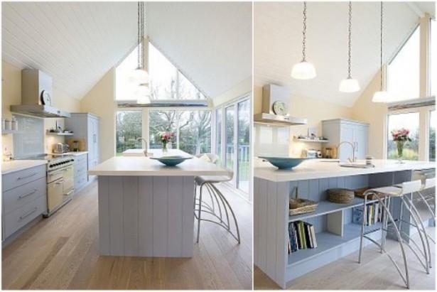 White Country Kitchen Kitchen Island Designs Wooden Floor