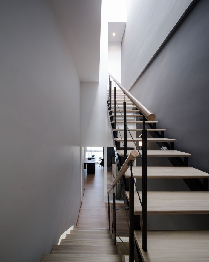 White Grey Wall Wooden Stairs Modern Townhome Design