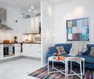 White Heirloom Apartment Small White Kitchen Blue Sofa