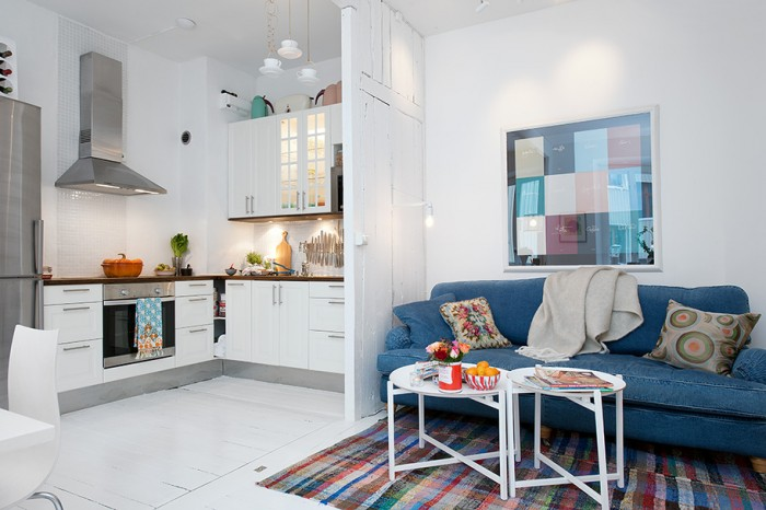 White Heirloom Apartment Small White Kitchen Blue Sofa