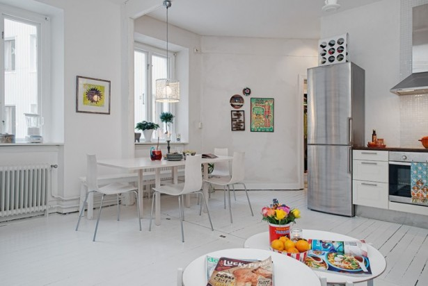 White Heirloom Apartment White Dining Room Glass Windows