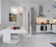 White Heirloom Apartment White Eat In Kitchen Design White Floor