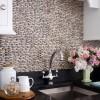 White Kitchen Cobblestone Backsplash