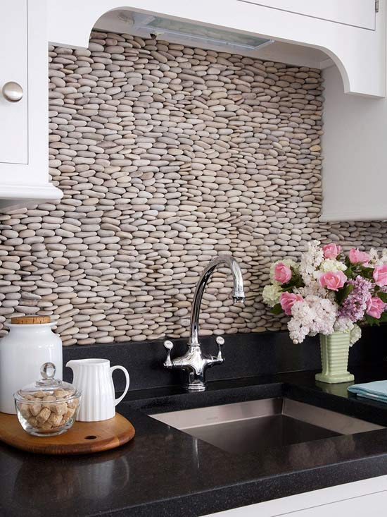 White Kitchen Cobblestone Backsplash