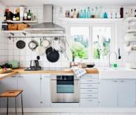 White Kitchen Tiles Wooden Chair Open Kitchen Shelves