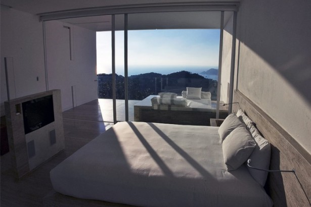 White Large Bedroom Glass Sliding Door Modern Hotel Encanto