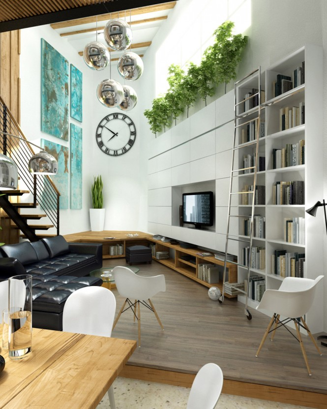 White Living Room Black L Shaped Sofa Wooden Deck Modern Living Rooms