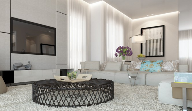 White Living Room Decor Scheme Ando Studio Designs