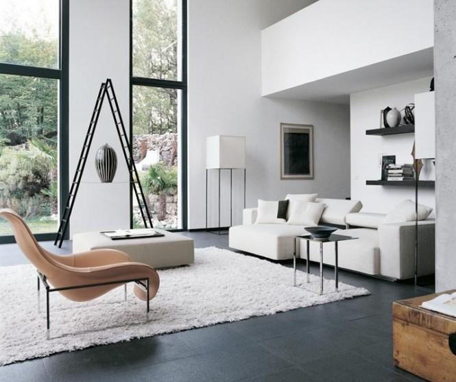 White Living Room Modern Sofa Ideas White Rug