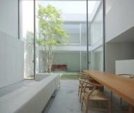 White Long Sofa Small Courtyard Courtyards Design Ideas