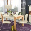 White Modern Dining Furniture Purple Rug Modern Dining Rooms