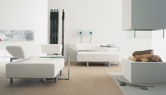 White Sofa Set Colorful Living Room Creame Carpet