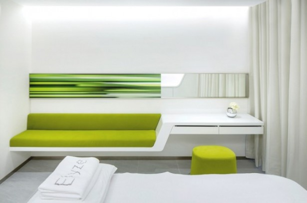 White Towel Green Couch Green Office Inspiration