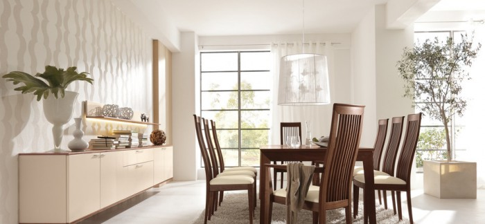 Wood Dining Table And Chairs Modern Dining Rooms White Wall
