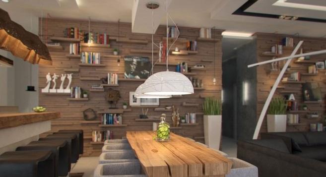 Wooden Bookshleves Creative Home Design Unique Lamp