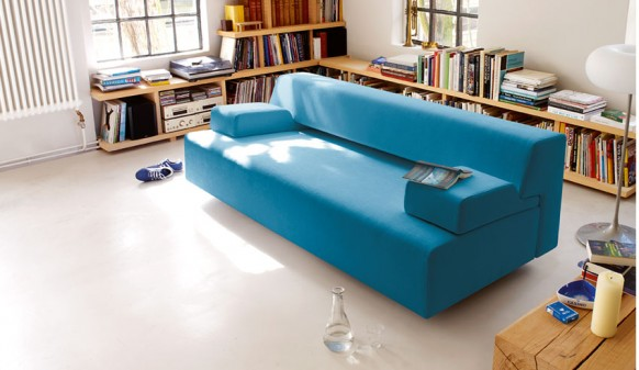 Wooden Bookshleves Sky Blue Sofa Colorful Living Room
