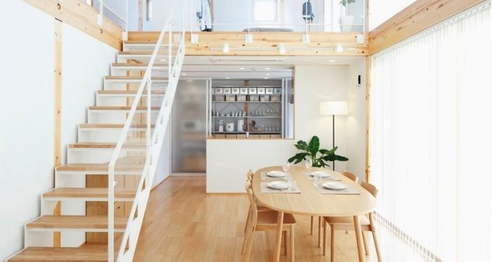 Wooden Floor City Loft Japanese Style Interior Design