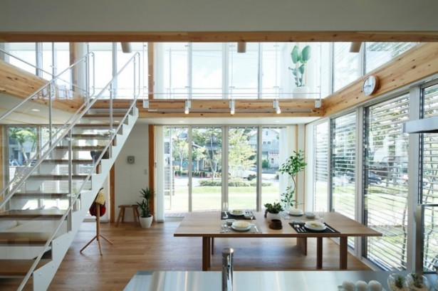 Wooden Floor Glass House Japanese Style Interior Design