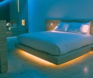 Wooden Floor White Bed Calm Lighting Modern Hotel Encanto