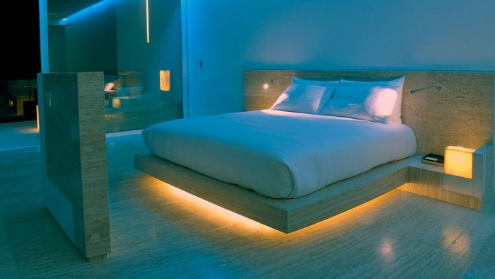 Wooden Floor White Bed Calm Lighting Modern Hotel Encanto