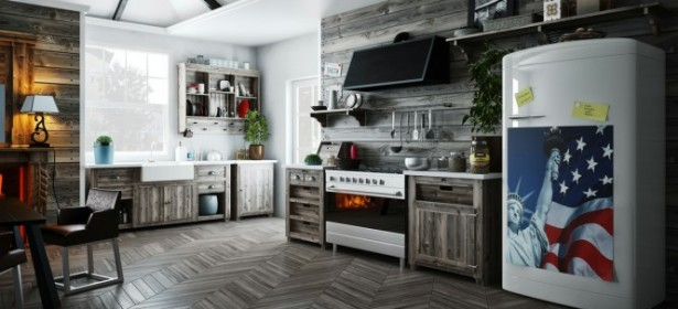 Wooden Kitchen Design Rusric Drawers Open Kitchen Shelves