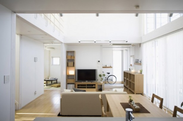 Wooden Table Neutral Living Room Minimalist Japanese Prefab