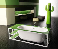 green glass bathroom accessories 1