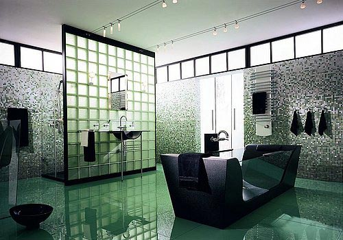 green glass bathroom accessories