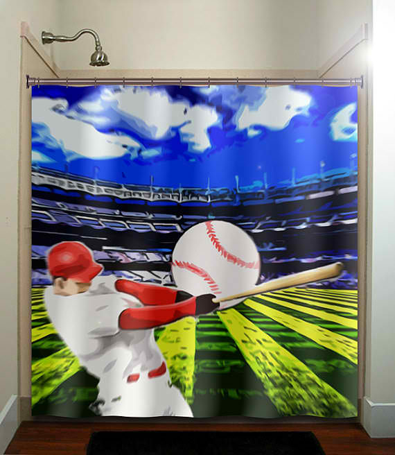 Baseball bathroom decor ideas for a sports themed bathroom for Sports themed bathroom decor