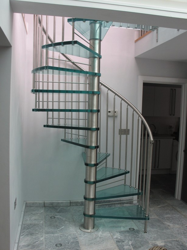 Bespoke glass spiral staircase