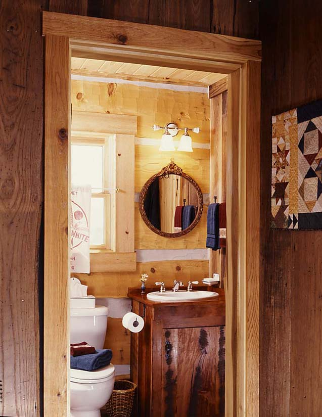 Rustic fishing bathroom decor for Cabin bathroom ideas