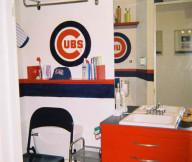 baseball themed bathroom