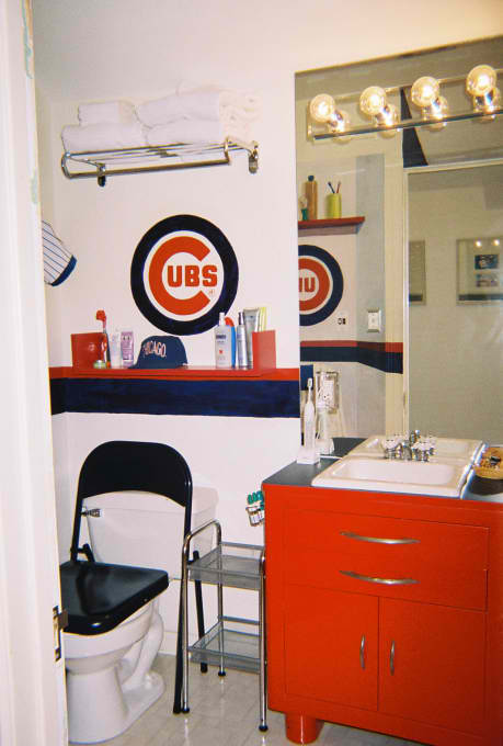 baseball themed bathroom