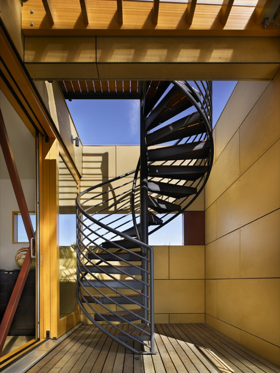 black metal spiral staircase