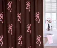 browning shower curtain pink