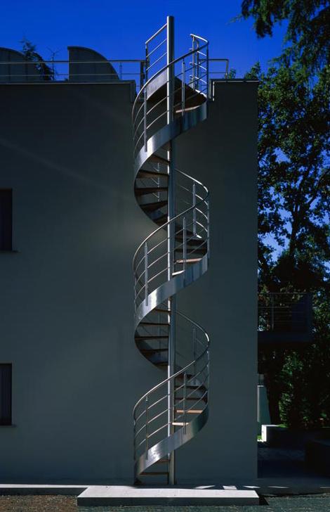 exterior metal spiral staircase