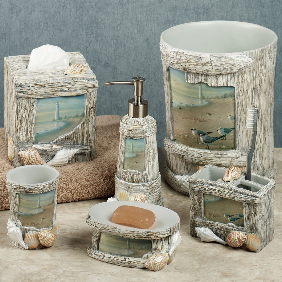 Bring the ocean in with lighthouse bathroom d cor for Items for bathroom