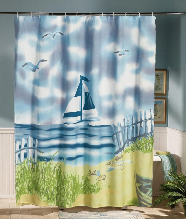 lighthouse bathroom shower curtain