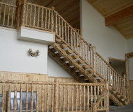 log stairs with log handrails