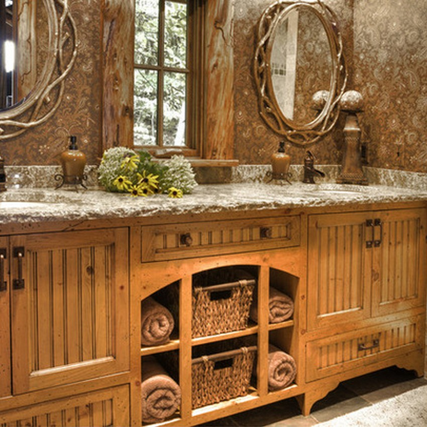 Rustic bathroom d cor ideas for a country style interior for Restroom decoration pictures