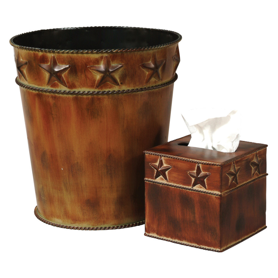 rustic star wastebasket