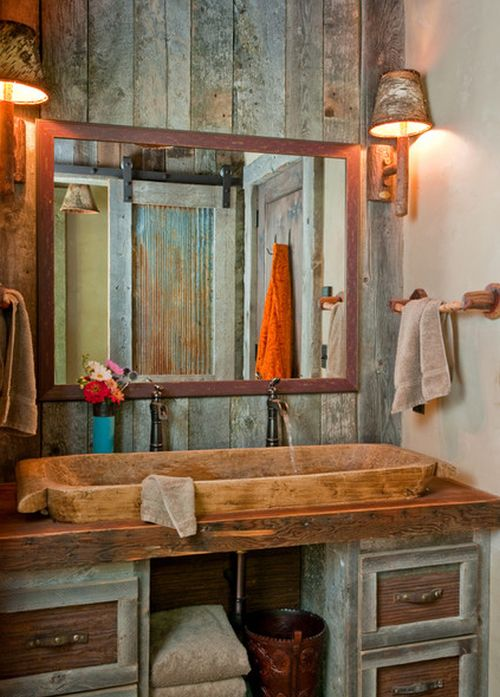 rustic vanity in the bathroom
