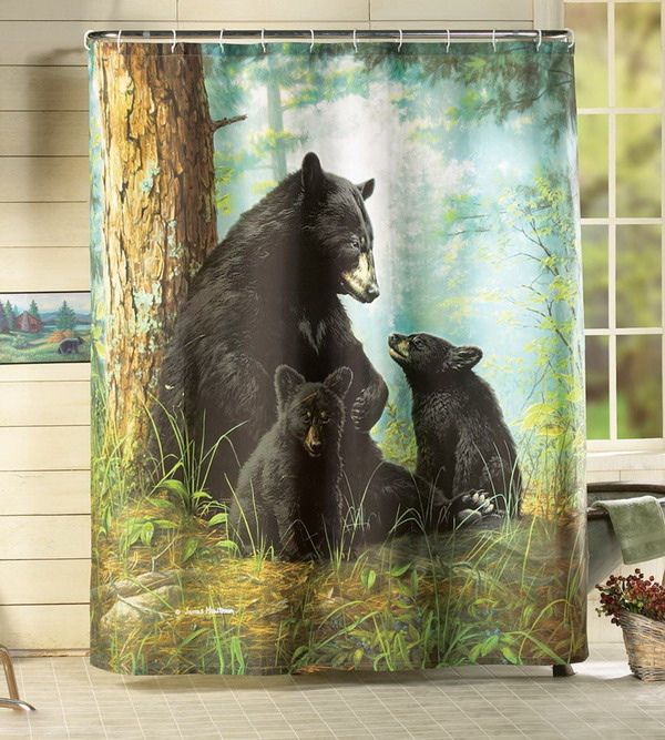 bathroom shower curtain with black bears design