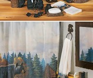 black bear lodge bathroom decor
